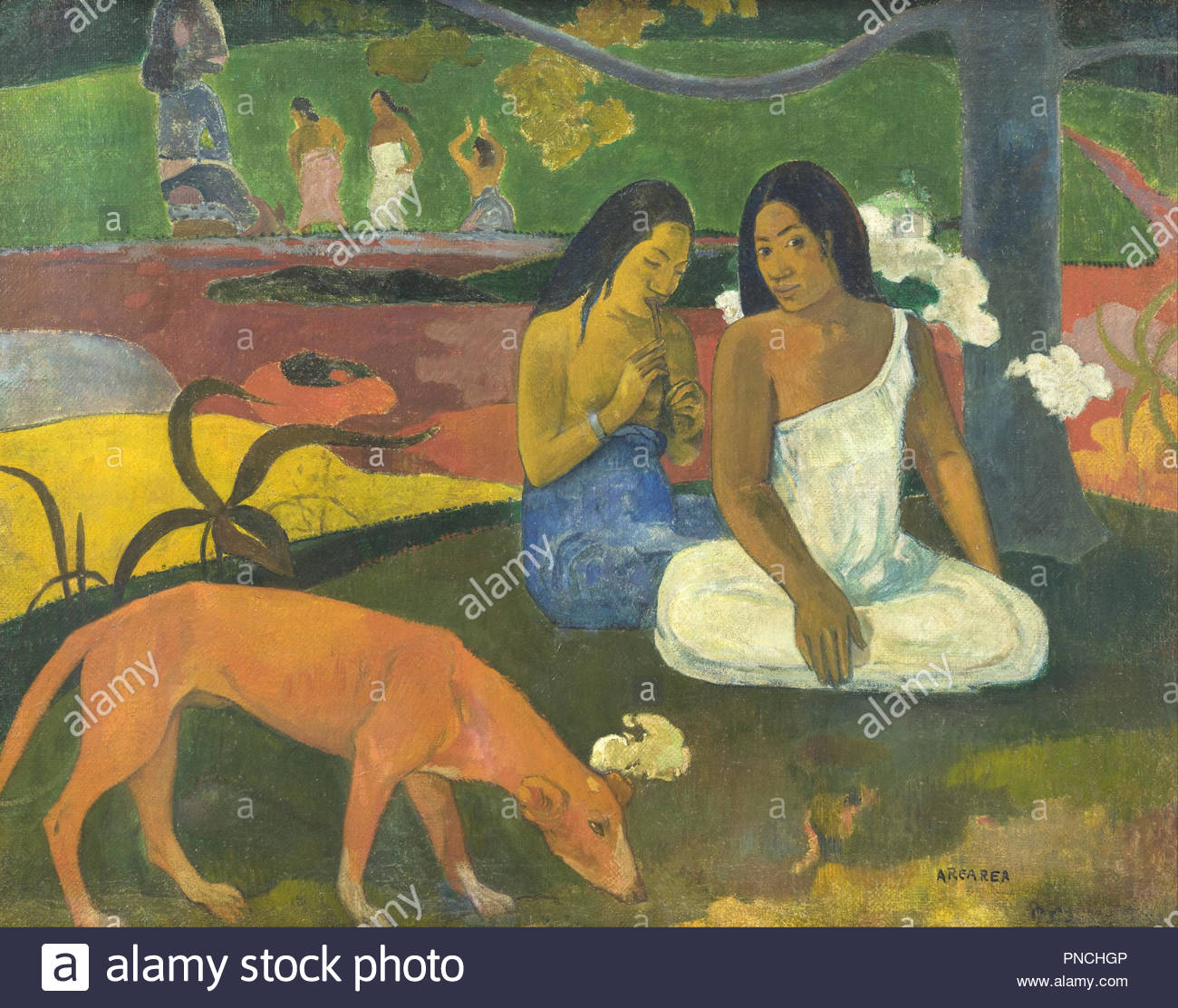Arearea / Joyfulness. Date/Period: December 1892. Painting. Oil on canvas. Height: 74.5 cm (29.3 in); Width: 93.5 cm (36.8 in). Author: PAUL GAUGUIN. GAUGUIN, PAUL. Gauguin, Paul Eugéne Henri. - Stock Image