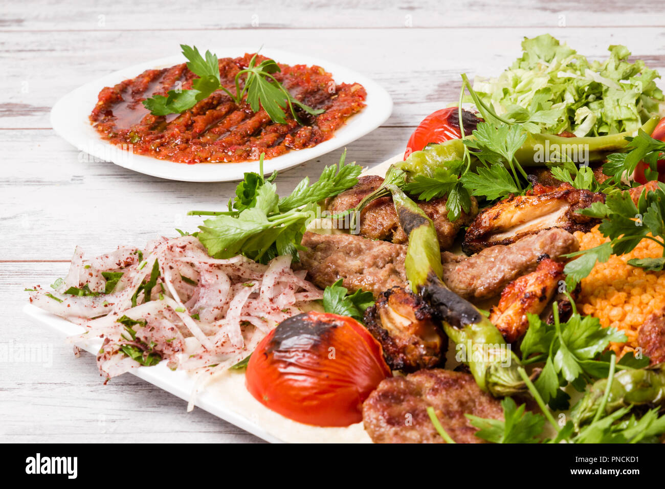 Turkish Traditional Mixed Kebab Plate With Adana And Chicken Kebabs Stock Photo Alamy