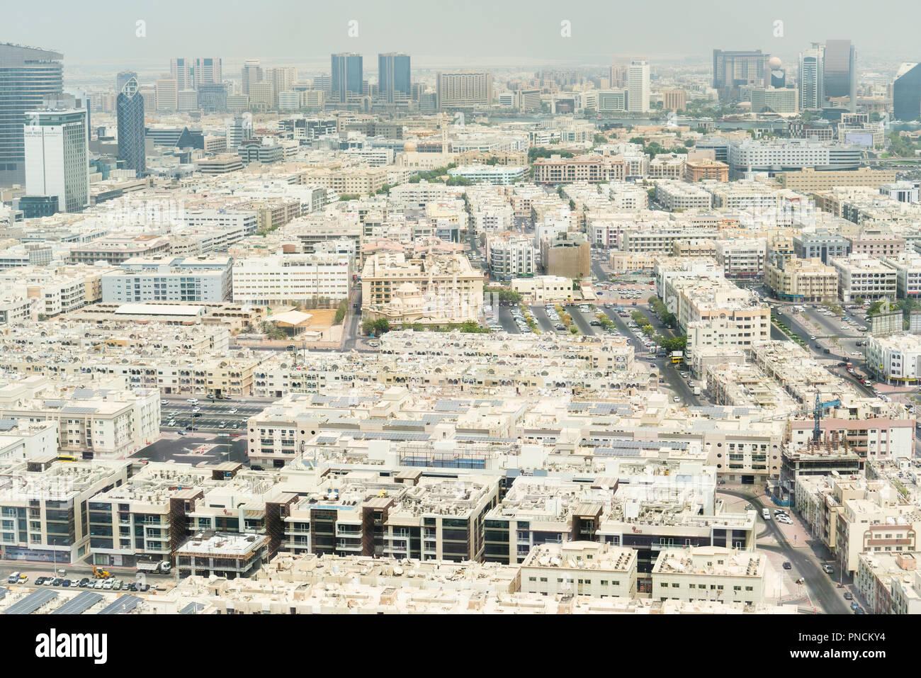 View of low rise housing apartment blocks in Al Karama district of Dubai, UAE - Stock Image