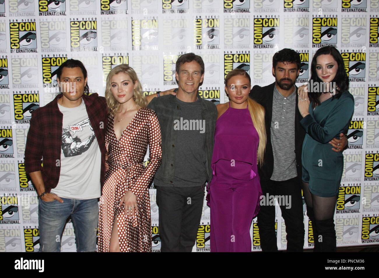 Blair Redford, Skyler Samuels, Stephen Moyer, Natalie Alyn Lind, Sean Teale and Emma Dumont promoting the next season of 'The Gifted' At San Diego Comic Con International 2018. Held at the Hilton Bay Front in San Diego, CA. July 21, 2018. Photo by: Carrie Chavez / PictureLux - Stock Image
