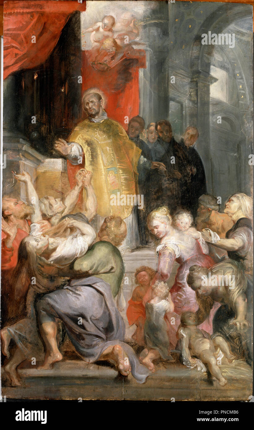 The Miracles of Saint Ignatius of Loyola. Date/Period: Ca. 1619. Painting. Oil on oak panel. Height: 737 mm (29.01 in); Width: 502 mm (19.76 in). Author: Rubens, Sir Peter Paul. PETER PAUL RUBENS. - Stock Image