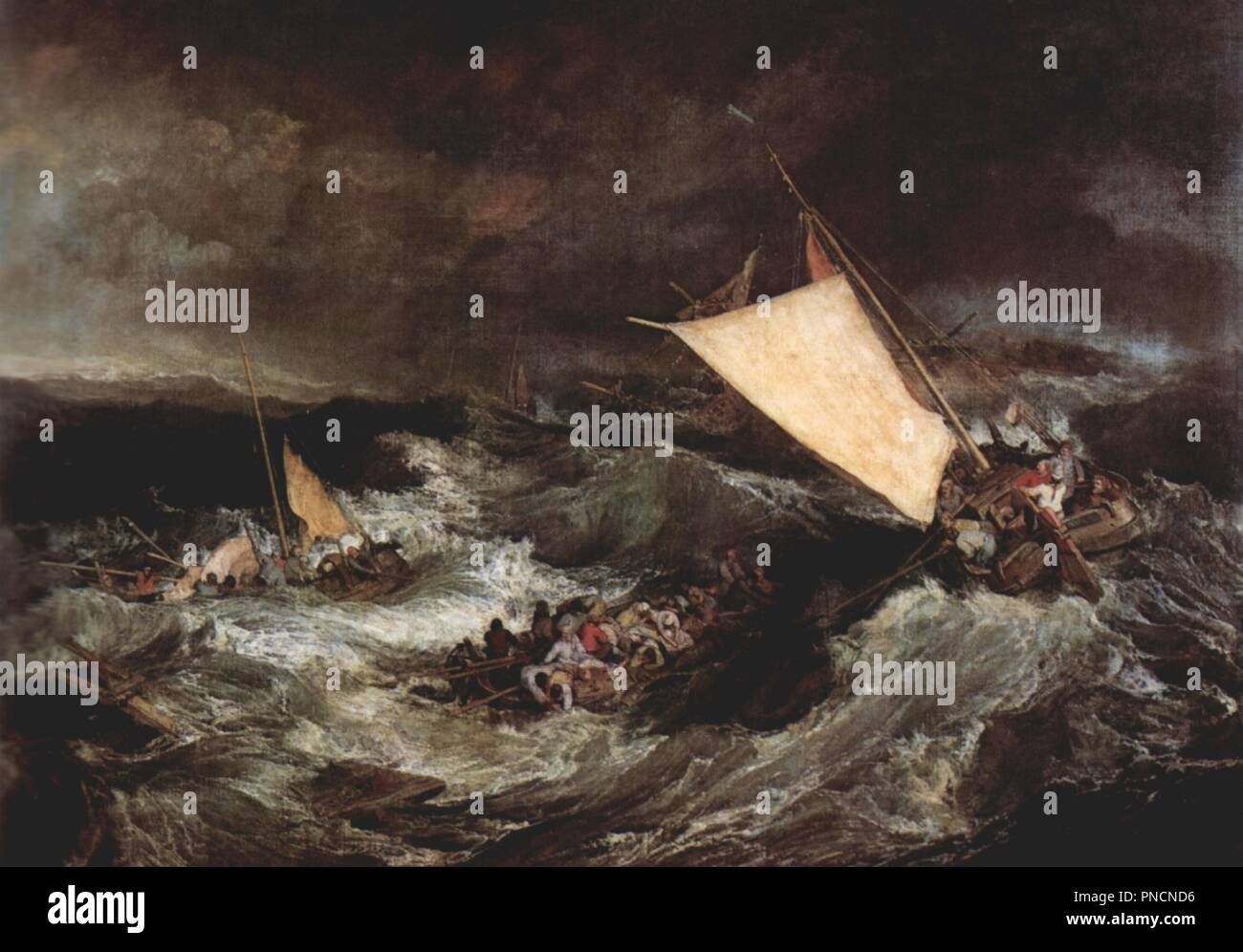 The Shipwreck. Date/Period: 1805. Painting. Oil on canvas. Height: 170.5 cm (67.1 in); Width: 241.5 cm (95 in). Author: J. M. W. Turner. TURNER, JOSEPH MALLORD WILLIAM. ROUSSEAU, HENRI. TURNER, CHARLES. - Stock Image