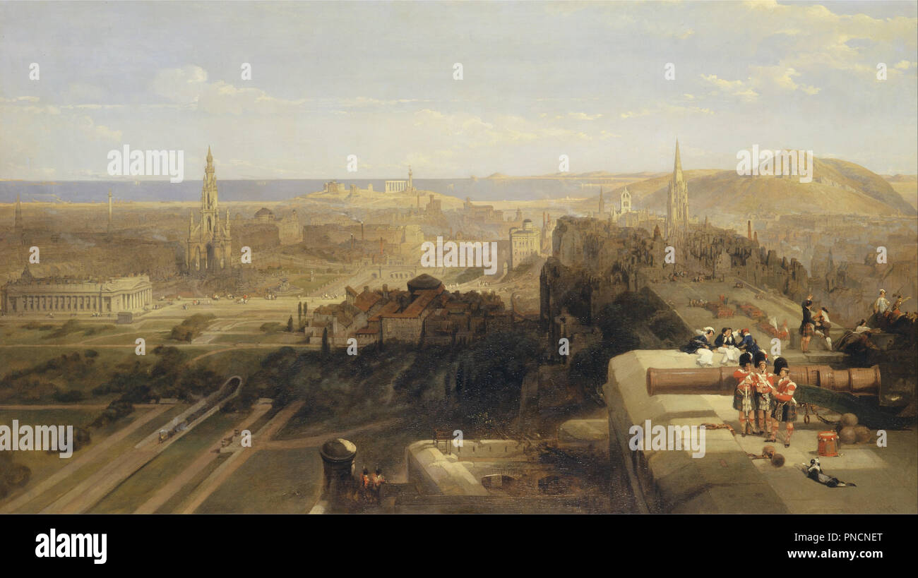 Edinburgh from the Castle. Date/Period: 1847. Painting. Oil on canvas. Height: 1,219 mm (47.99 in); Width: 2,134 mm (84.01 in). Author: DAVID ROBERTS. Stock Photo
