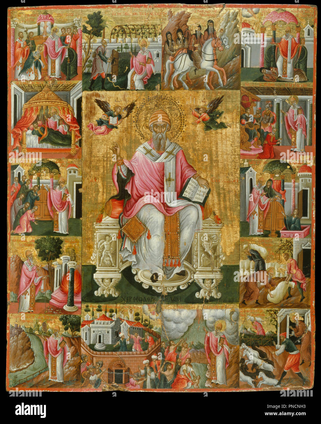 St Spyridon and scenes from his life. Date/Period: 1650 - 1699. Icon. Height: 562 mm (22.12 in); Width: 452 mm (17.79 in). Author: Poulakis Theodoros. Poulakis, Theodore. - Stock Image