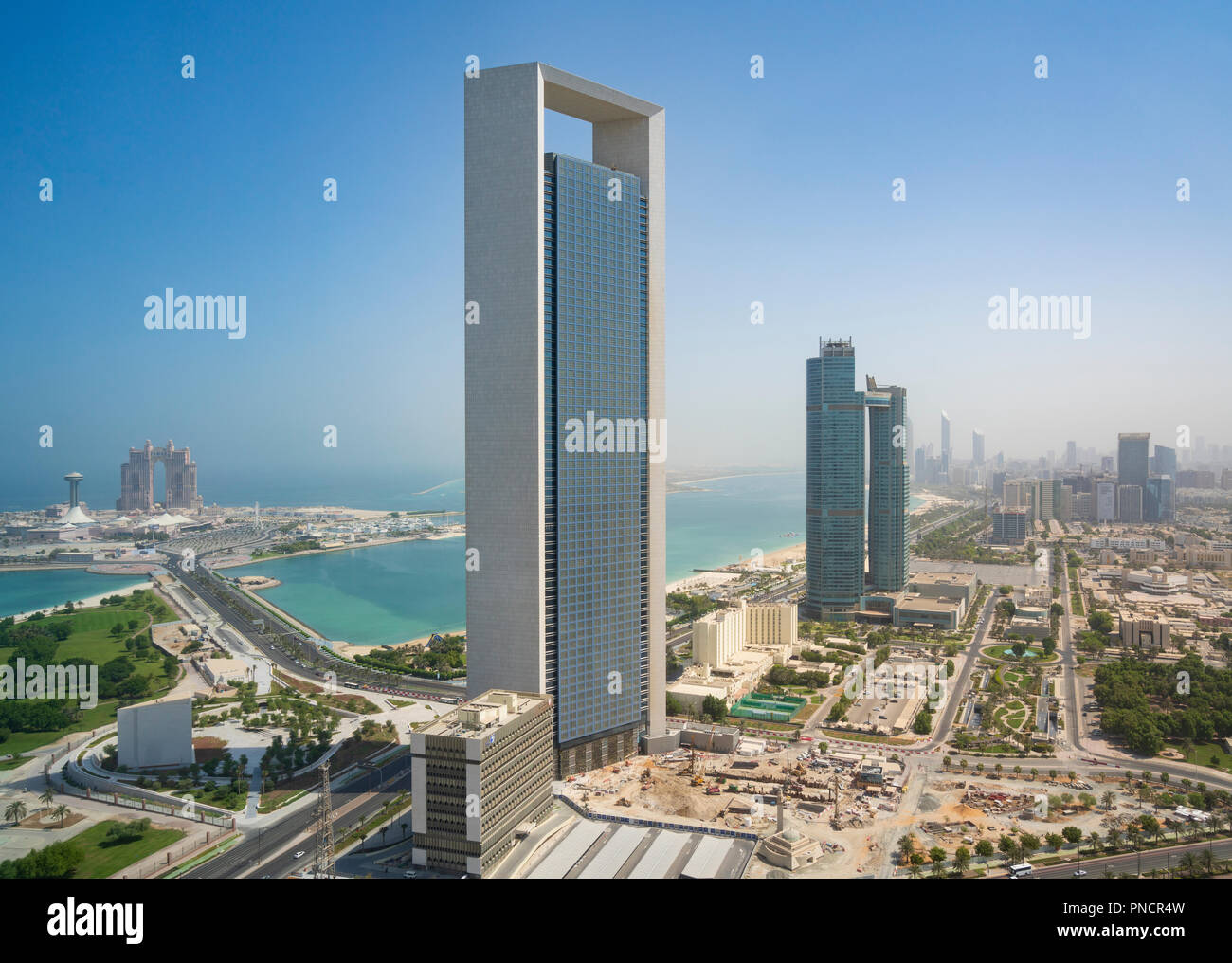 View of office tower of adnoc and corniche in abu dhabi uae united arab emirates stock photo - Office tourisme abu dhabi ...