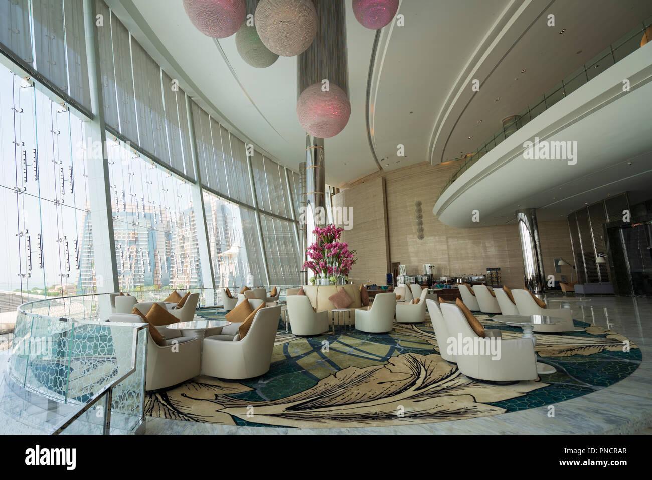 Interior of Etihad Jumeirah Hotel in Abu Dhabi, UAE, united Arab Emirates - Stock Image