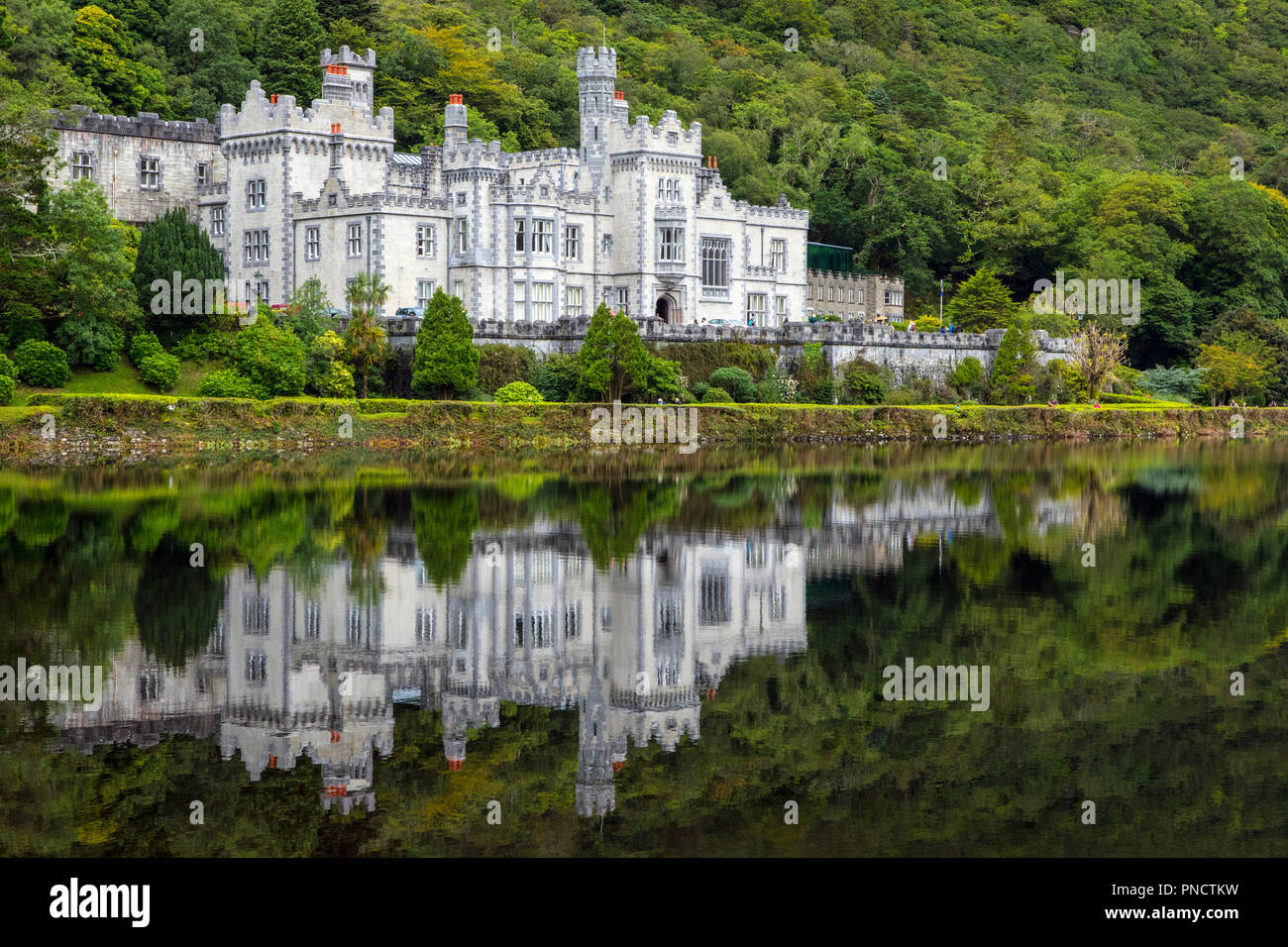 County Galway, Ireland - August 20th 2018: A view of the magnificent Kylemore Abbey - the Benedictine monastery on the grounds of Kylemore Castle in C Stock Photo