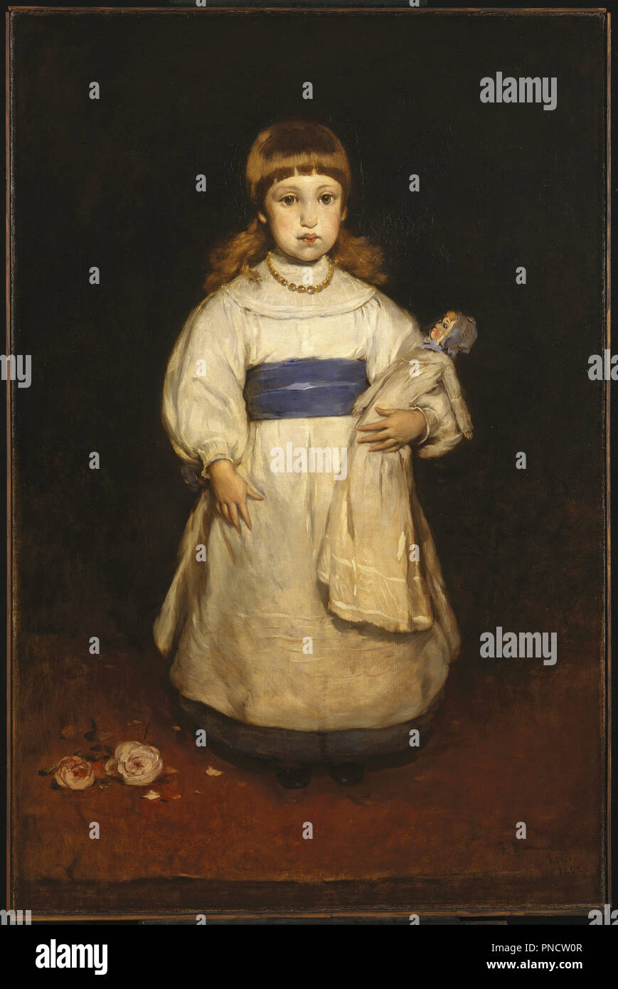 Mary Cabot Wheelwright. Date/Period: 1882. Painting. Oil on canvas. Height: 127.5 cm (50.1 in); Width: 84 cm (33 in). Author: Frank Duveneck. - Stock Image