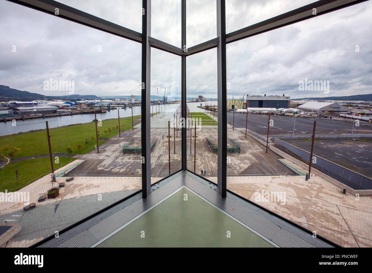 Belfast, Northern Ireland - August 23rd 2018: View from the Titanic Belfast Museum, of the slipways on which the Titanic and Olympic were built and fi Stock Photo