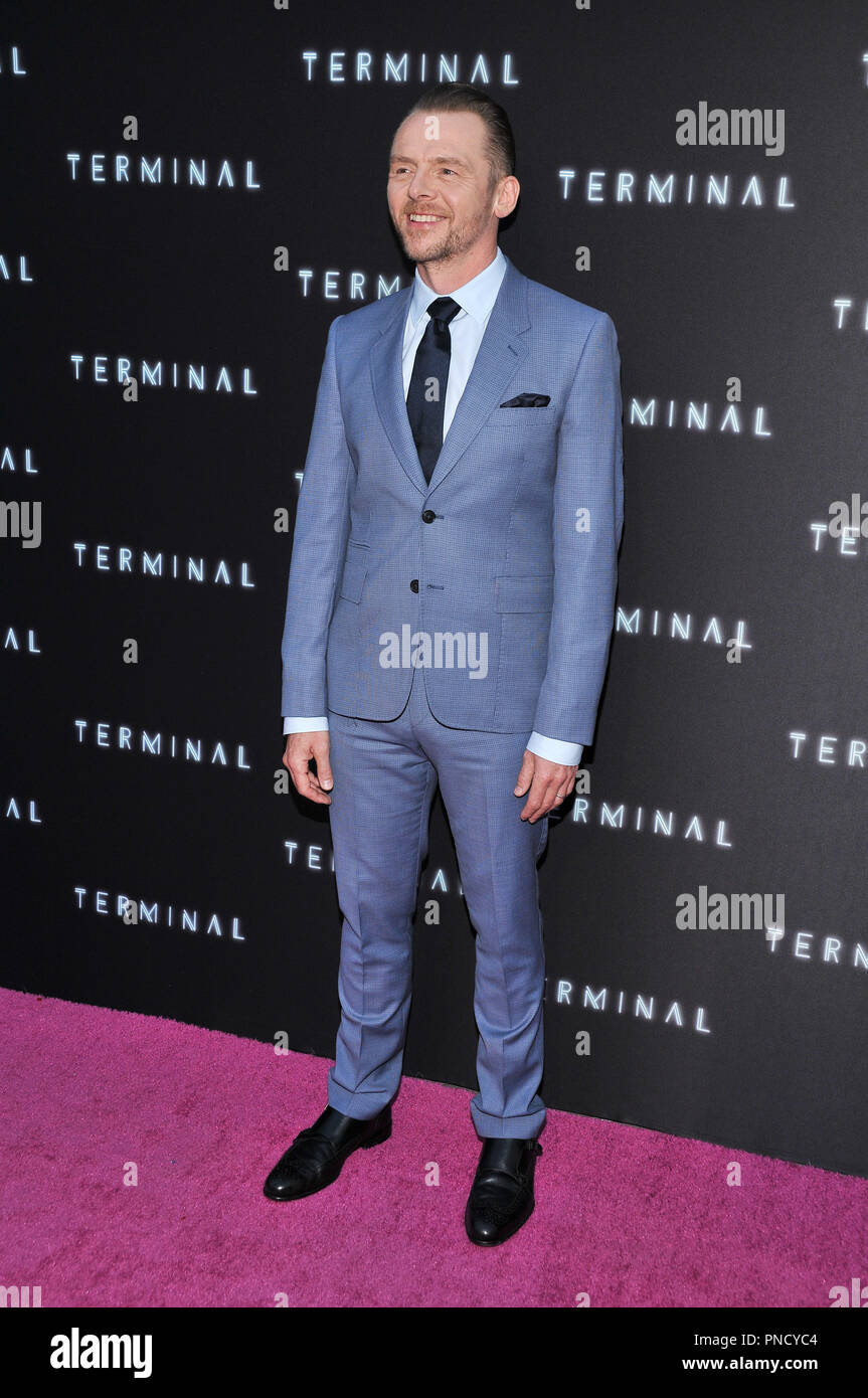 Simon Pegg at the 'Terminal' Premiere held at the ArcLight Hollywood in Los Angeles, CA on Tuesday, May 8, 2018. Photo by PRPP/ PictureLux  File Reference # 33590_026PRPP01  For Editorial Use Only -  All Rights Reserved - Stock Image
