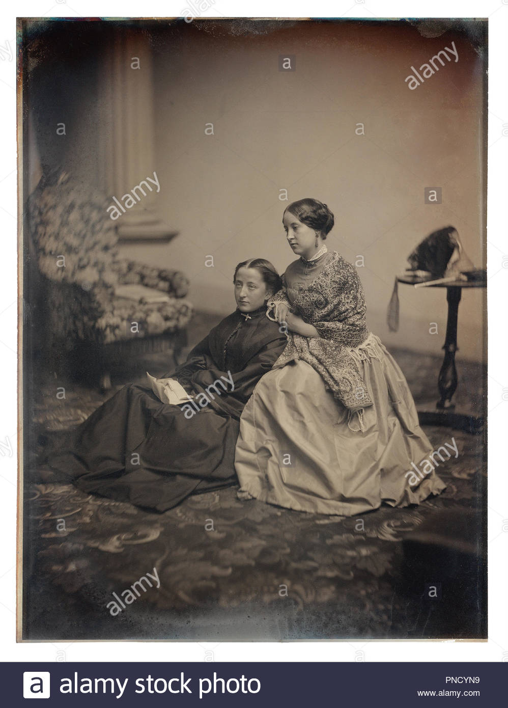 The Letter. Date/Period: Ca. 1850. Unknown. Daguerreotype Daguerreotype. Height: 215.90 mm (8.50 in); Width: 165.10 mm (6.50 in). Author: Albert Sands Southworth. Josiah Johnson Hawes. Albert Sands Southworth and Josiah Johnson Hawes. - Stock Image