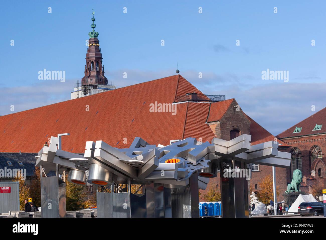 City Fractal sculpture by Elisabeth Toubro, Søren Kierkegaards Plads, København Copenhagen, Denmark - Stock Image