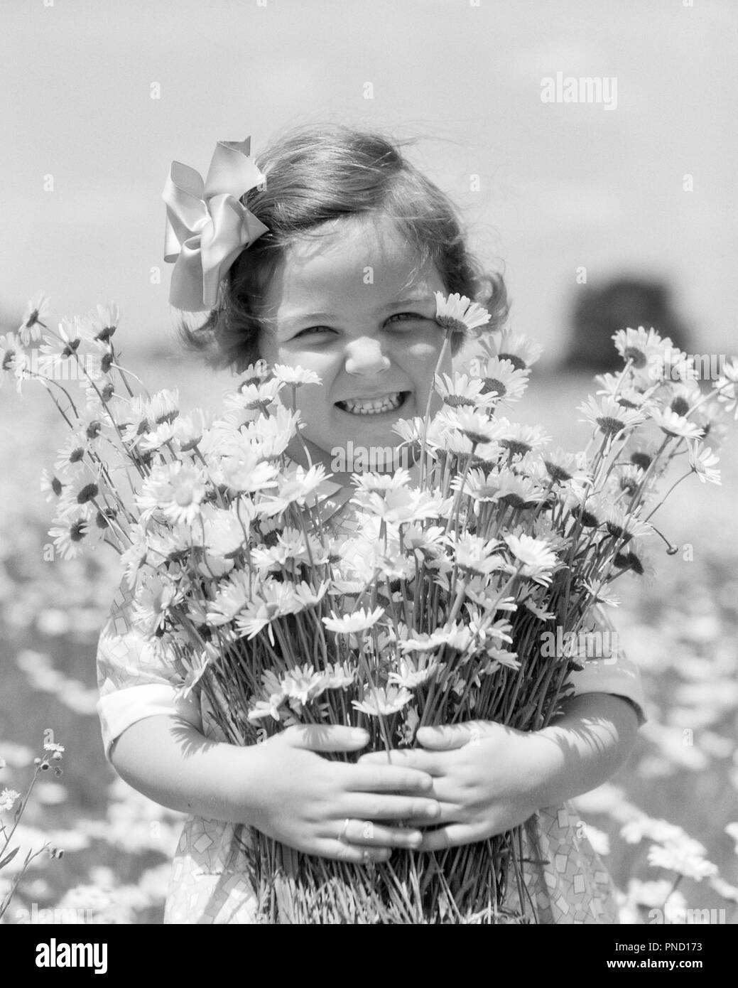 Girl Holding Flower Black And White Stock Photos Images Alamy