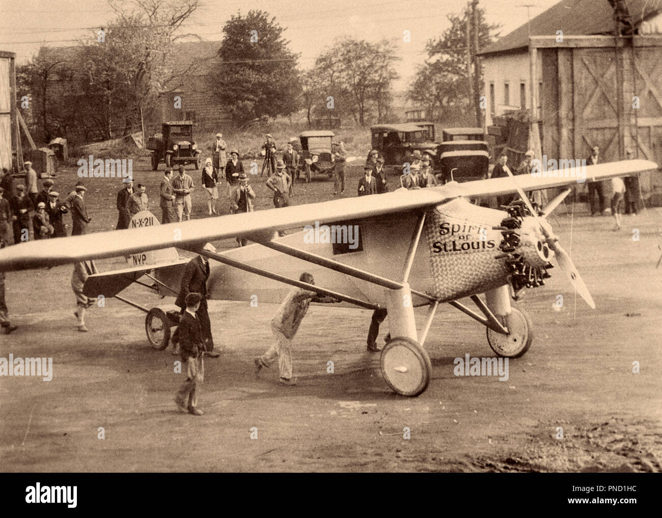 Louis airplane on a grass landing field Lindbergh Photo Print Spirit of St