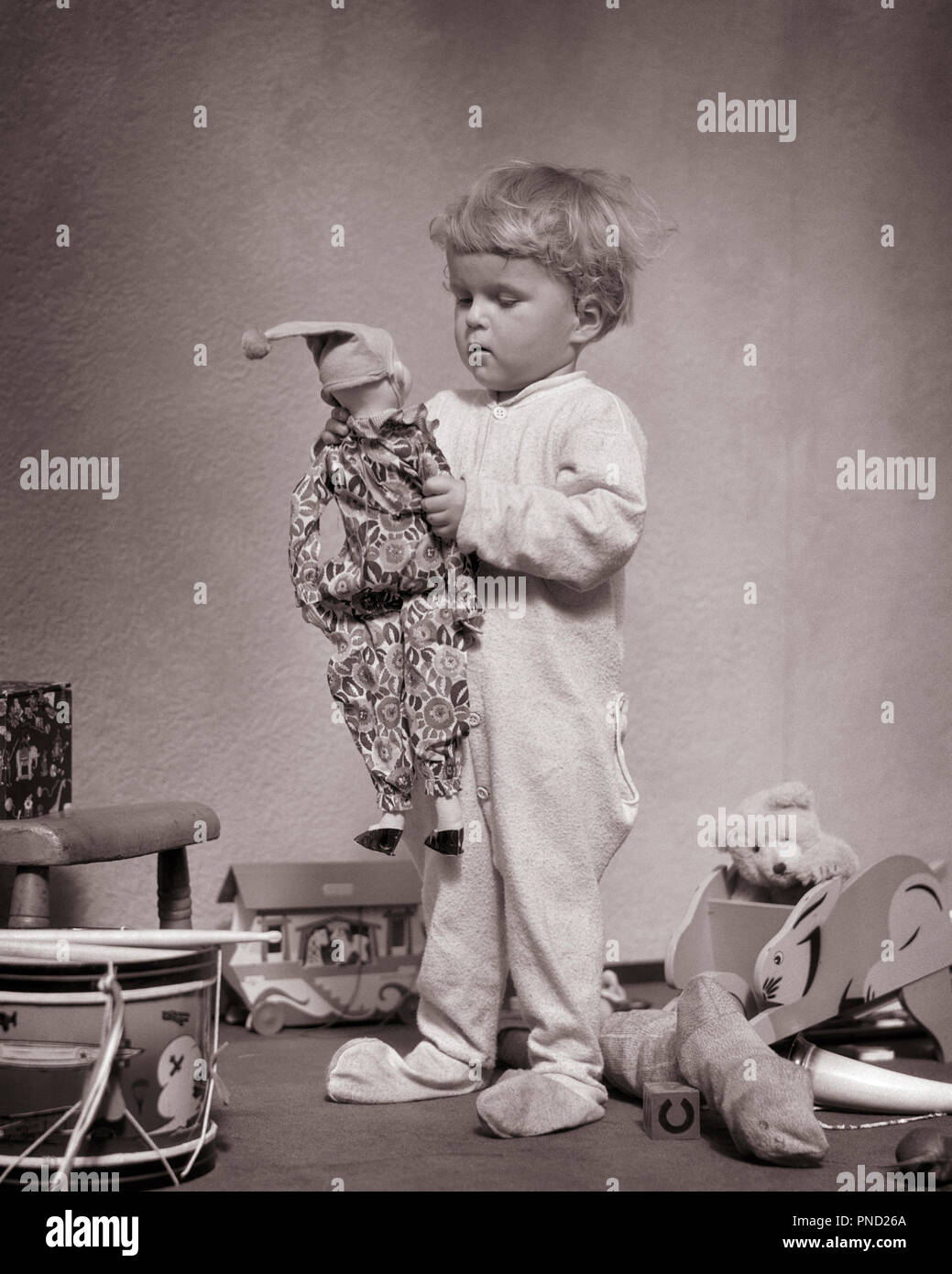 1930s YOUNG BLOND BABY BOY STANDING WEARING WOOL SOCK FOOTED DR