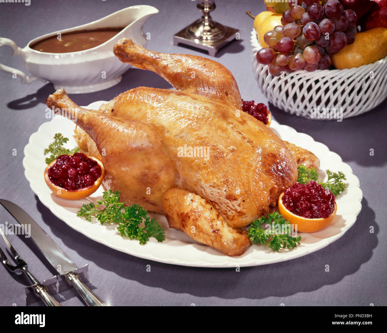 1950s 1960s ROAST CAPON ON PLATTER WITH GRAVY BOAT CRANBERRY