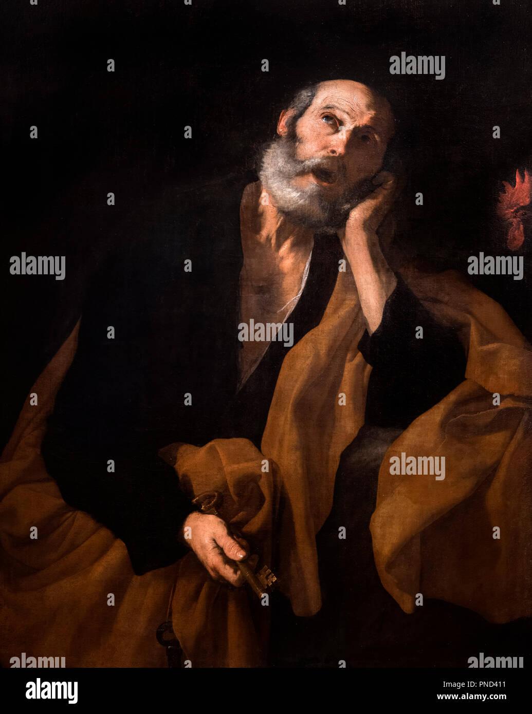 The Denial of St Peter by the workshop of Jusepe de Ribera (Jose de Ribera c.1588/91- 1652/6), oil on canvas, c.1640-50 - Stock Image