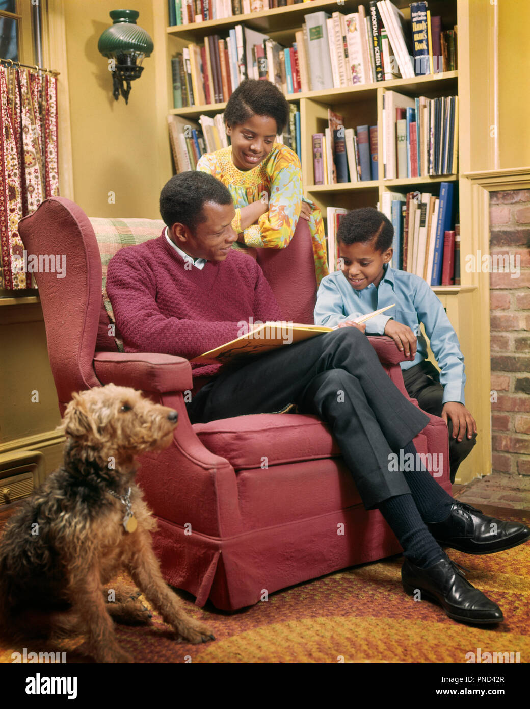 1970s AFRICAN AMERICAN FATHER READING TO SON AND DAUGHTER IN LIVING ROOM WITH AIREDALE DOG SITTING BY CHAIR - kj5657 PHT001 HARS 3 INDOOR INDOORS NOSTALGIC PAIR SUBURBAN URBAN DIVERSITY COLOR RELATIONSHIP PET OLD TIME NOSTALGIA BROTHER READ OLD FASHION SISTER 1 JUVENILE COMMUNICATION FRIEND TEAMWORK SONS JOY LIFESTYLE PARENTING FEMALES BROTHERS GROWNUP HOME LIFE PEOPLE CHILDREN FRIENDSHIP FULL-LENGTH DAUGHTERS PERSONS INSPIRATION GROWN-UP MALES SIBLINGS AMERICANS SISTERS FATHERS PATERNAL PARENT AND CHILD SINGLE PARENTS PARENTS AND CHILDREN FATHERHOOD HAPPINESS MAMMALS MAN'S BEST FRIEND LEISURE - Stock Image