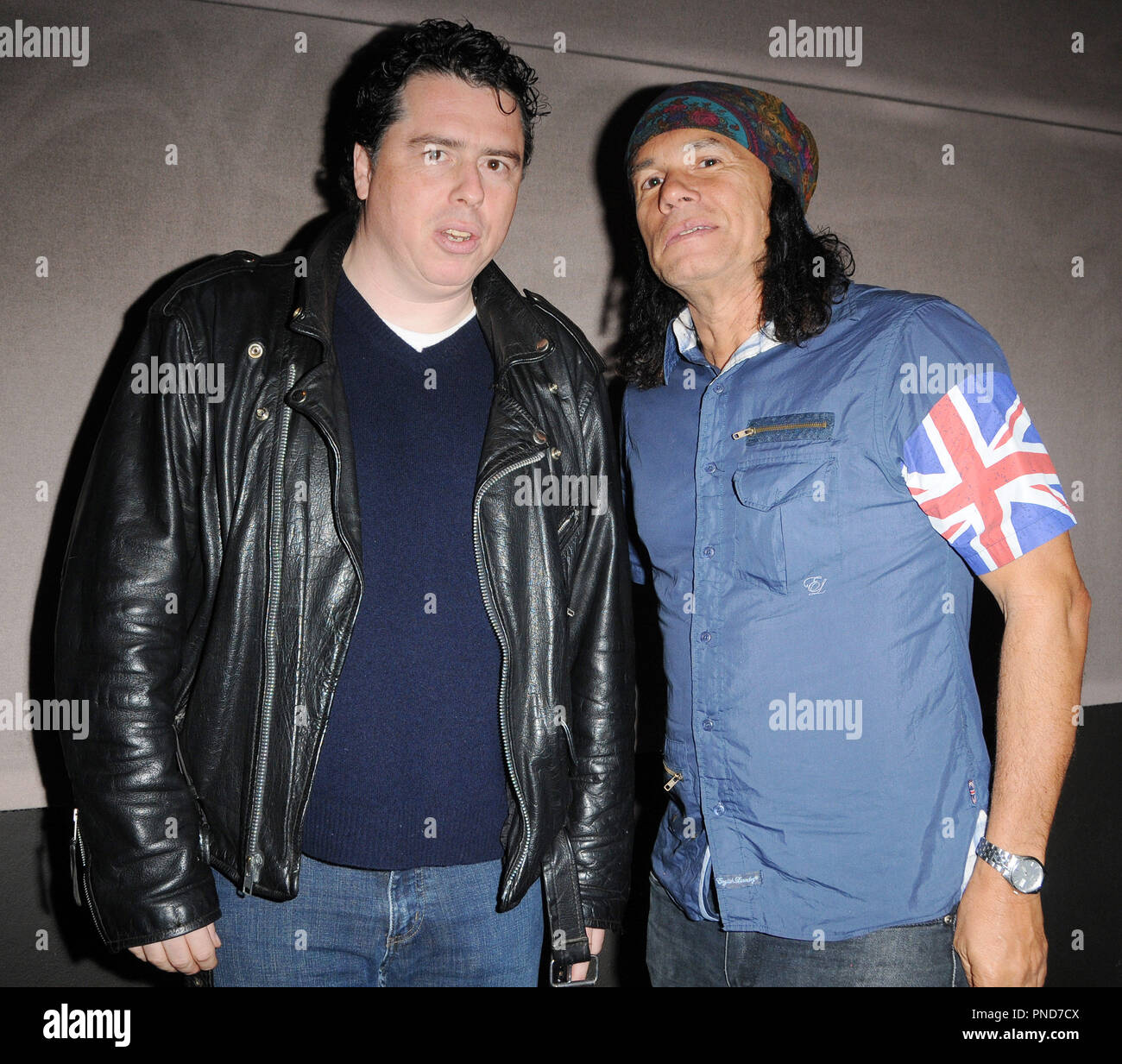 Sacha Gervasi and DJ Wayne Jobson of Indie 103.1 at the Q&A and Reception in celebration of the DVD release of 'Anvil The Story of Anvil' held at the WGA in Beverly Hills, CA on Thursday, October 8, 2009. Photo by Richard Soria/ PRPP /PictureLux File Reference # GervasiJobson01_10809PRPP  For Editorial Use Only -  All Rights Reserved - Stock Image