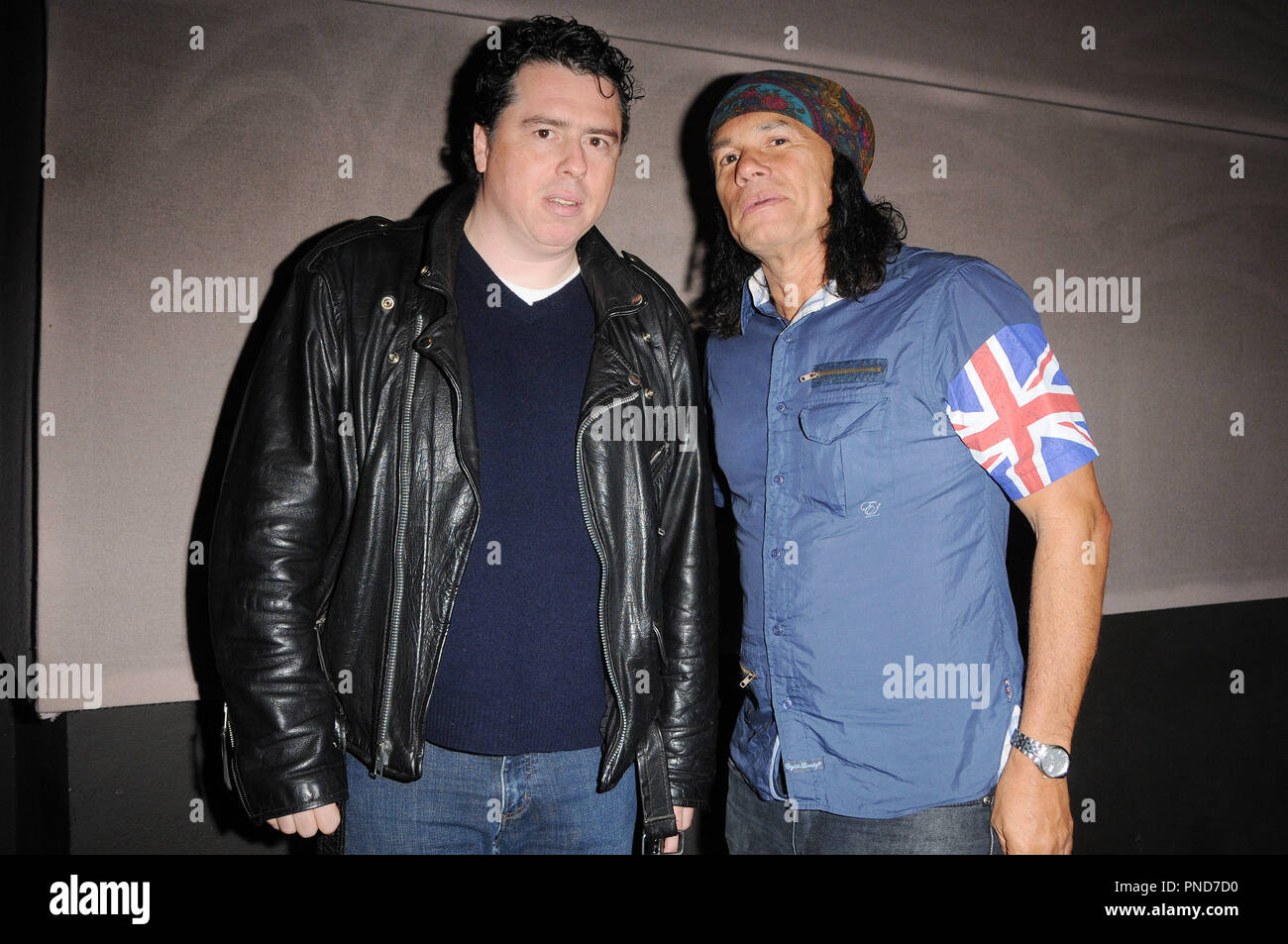 Sacha Gervasi and DJ Wayne Jobson of Indie 103.1 at the Q&A and Reception in celebration of the DVD release of 'Anvil The Story of Anvil' held at the WGA in Beverly Hills, CA on Thursday, October 8, 2009. Photo by Richard Soria/ PRPP /PictureLux File Reference # GervasiJobson02_10809PRPP  For Editorial Use Only -  All Rights Reserved - Stock Image