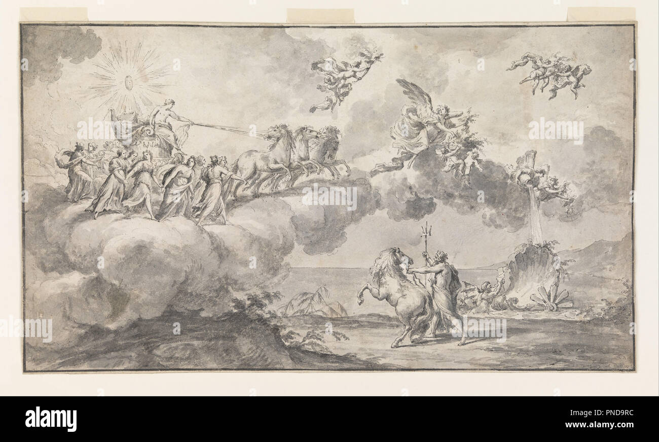 Date/Period: 1760-89. Drawing. Pen and brush and black ink, gray wash on  off-white laid paper, ruled border in pen and black ink, lined.
