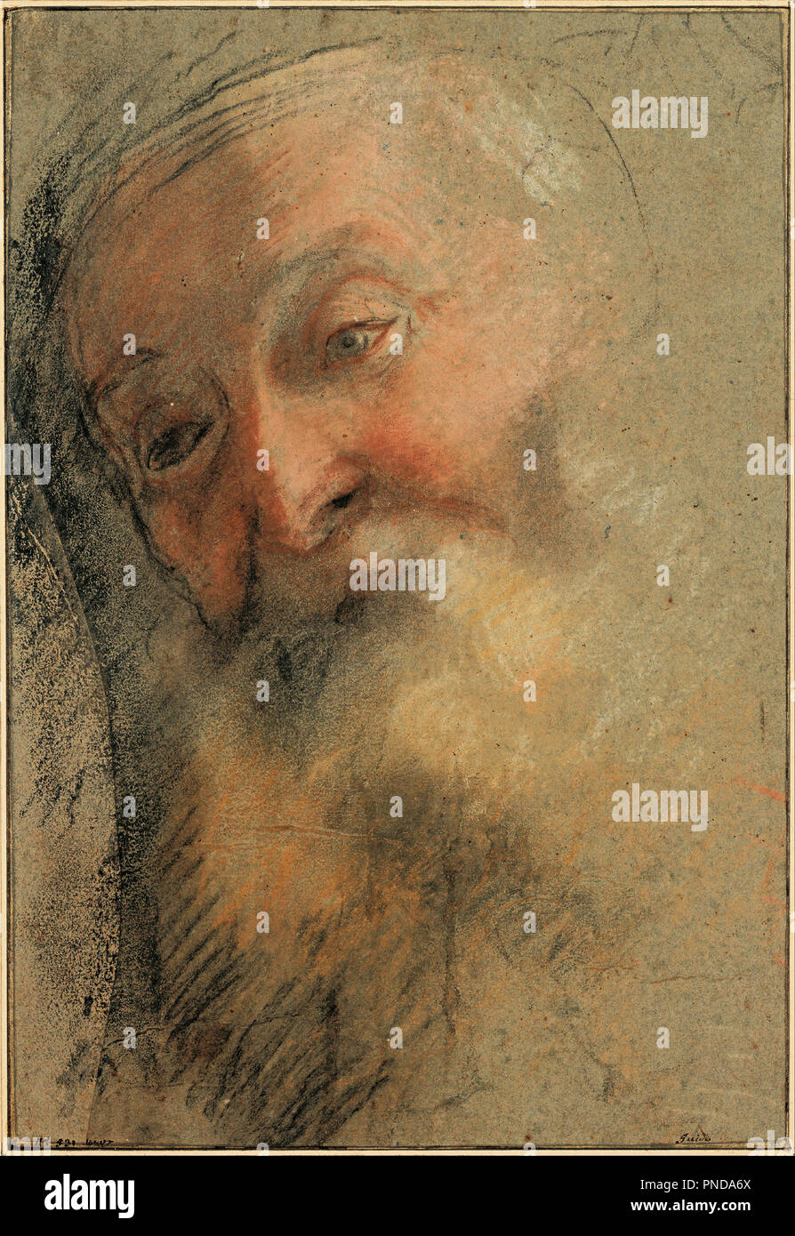 Head of an Old Bearded Man, 1584-1586. Date/Period: From 1584 until 1586. Drawing. Black chalk, white chalk, sanguine and pastel (Black, white, and red chalk, brown, ocher, and pink pastel). Author: BAROCCI, FEDERICO. Barocci, Federigo. Stock Photo