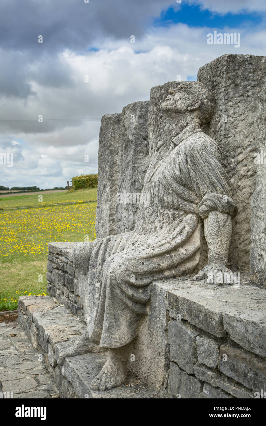 Sculpture known as the 'Tolpuddle Six', being the Tolpuddle Martyrs features George Loveless staring at the sky in despair. - Stock Image
