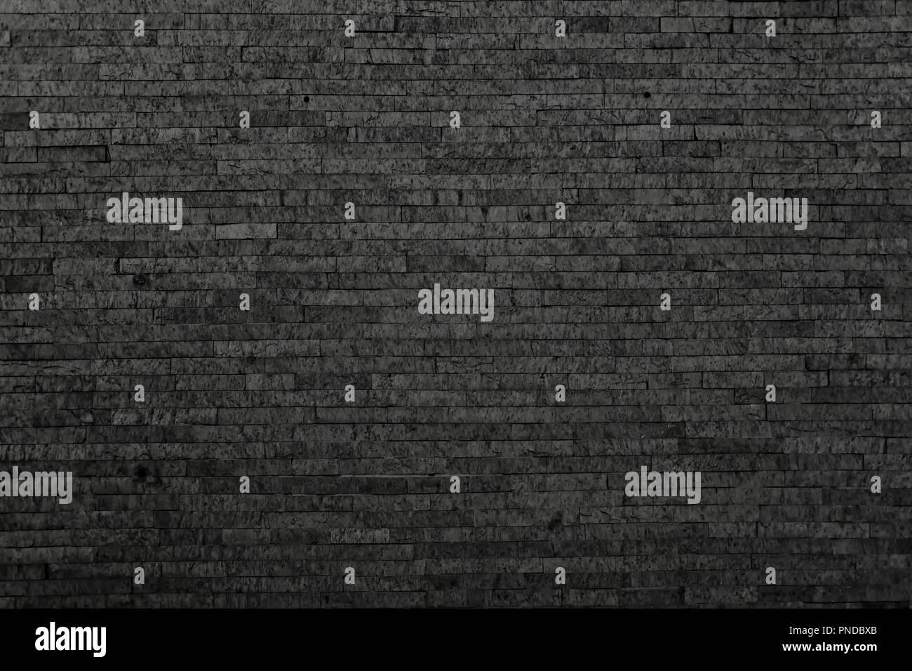 Black brick wall, brickwork background for design - Stock Image