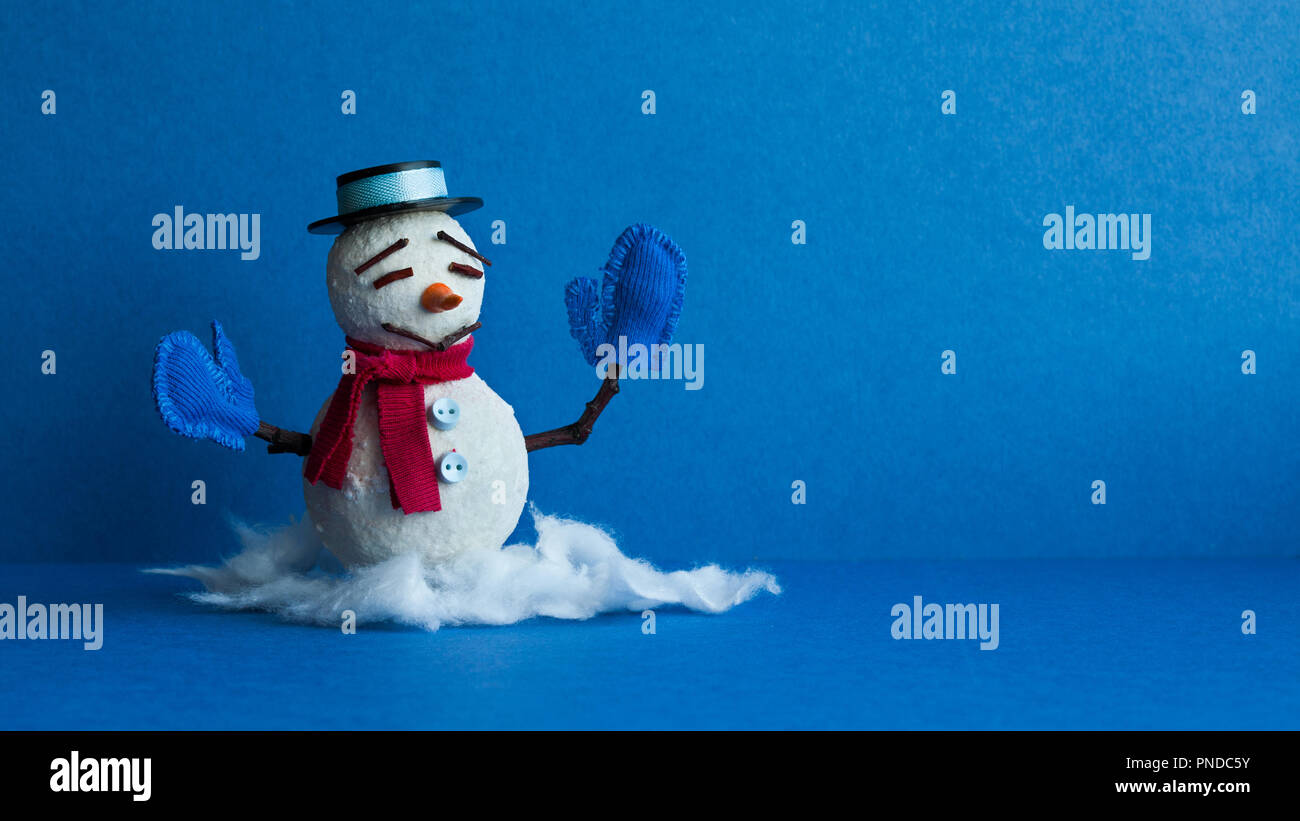 funny snowman on blue background winter traditional snowman