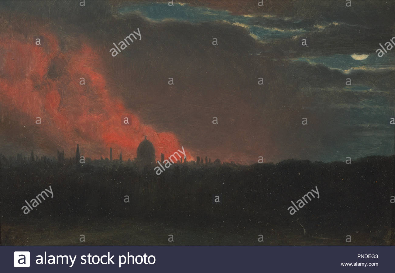 Fire in London, Seen from Hampstead. Date/Period: Ca. 1826. Painting. Oil on paper laid on panel. Height: 95 mm (3.74 in); Width: 152 mm (5.98 in). Author: John Constable. - Stock Image