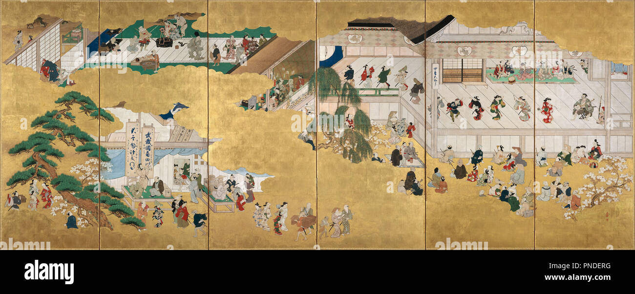 Scenes from the Nakamura Kabuki Theater. Date/Period: 1684 - 1704. Painting. One from a pair of six-panel folding screens; ink and color on gold-leafed paper. Height: 1,580 mm (62.20 in); Width: 3,840 mm (12.59 ft). Author: MORONOBU, HISHIKAWA. - Stock Image