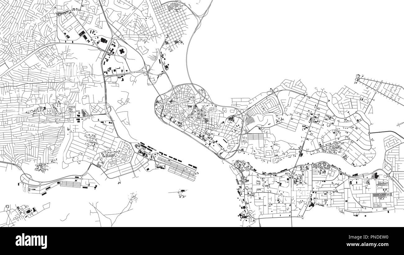 Lagos map, satellite view, city, Nigeria. Streets and house on a white background - Stock Image