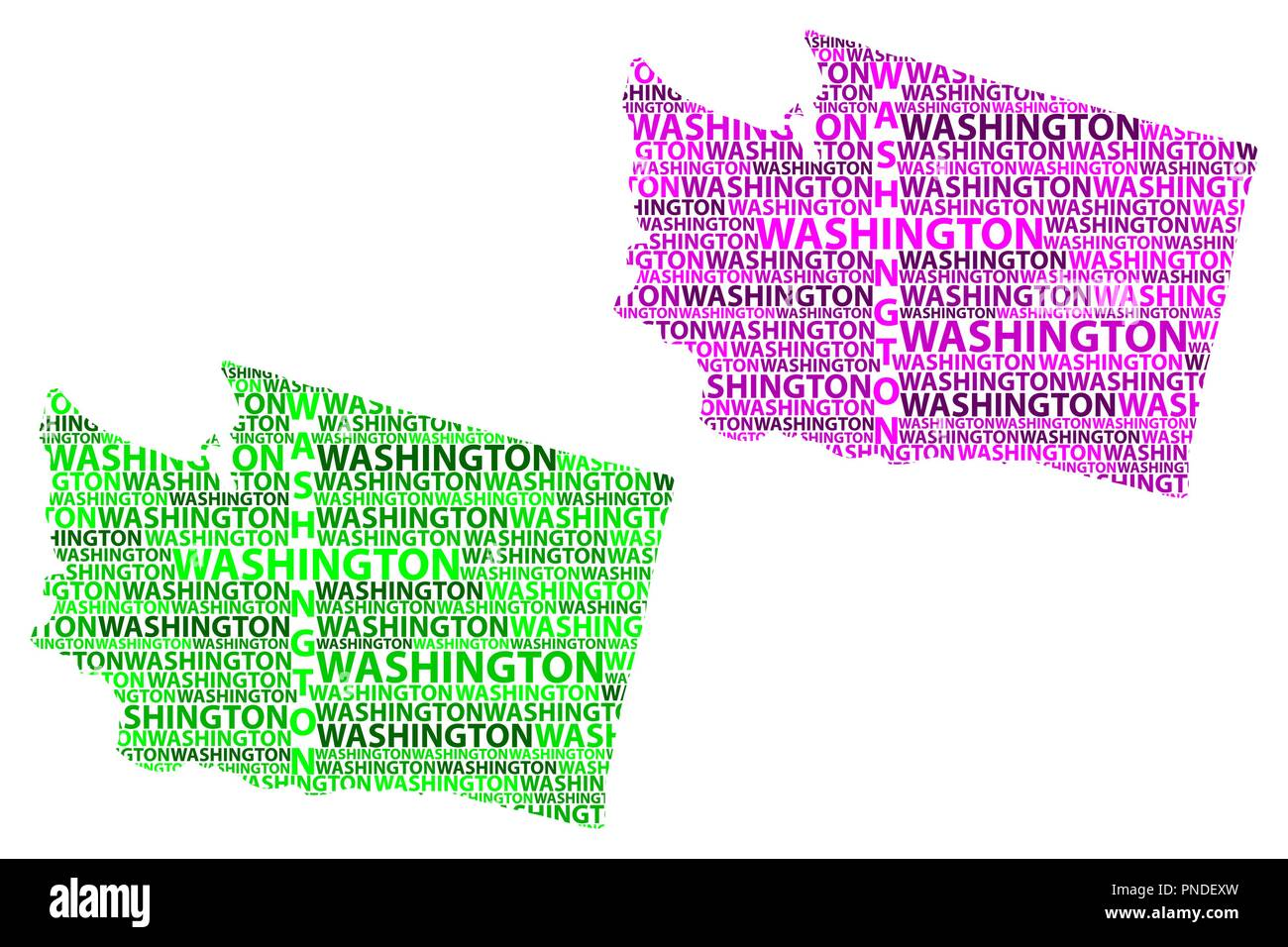 Sketch Washington (state) (United States of America) letter text map, Washington (state) map - in the shape of the continent, Map State of Washington  - Stock Vector