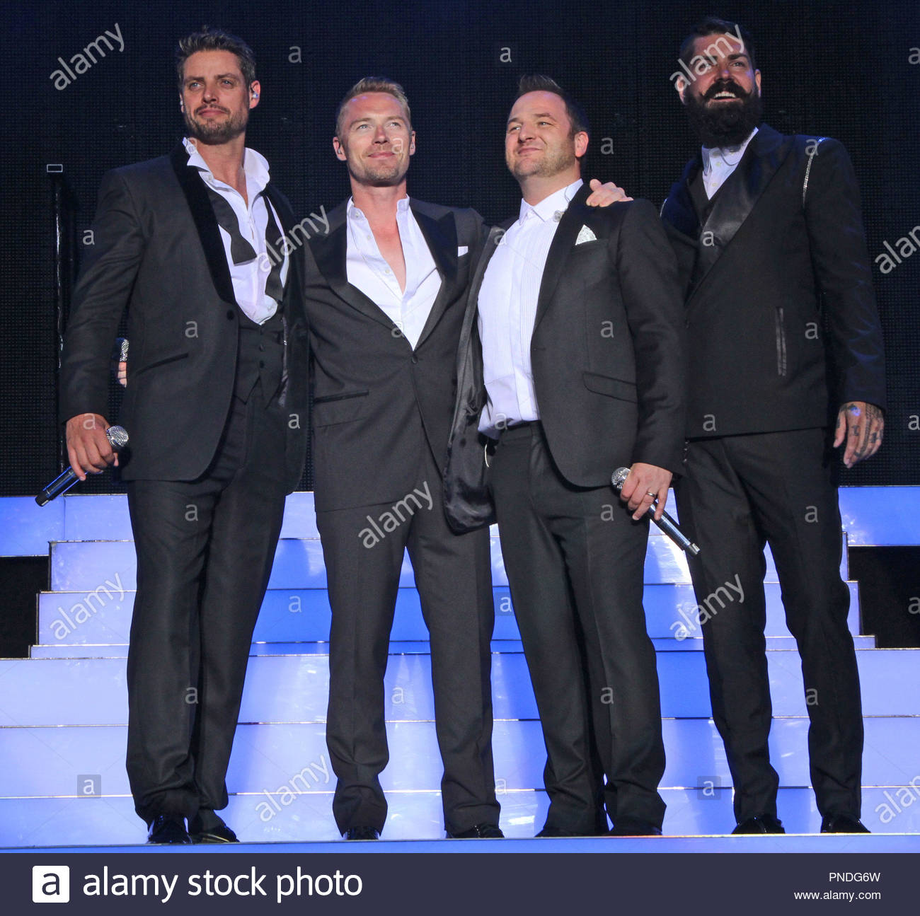 Boyzone perform to a sold out crowd at Forest Live 2014, in Delamere Forest Park, Cheshire on Sunday 06  July  2014 - Stock Image