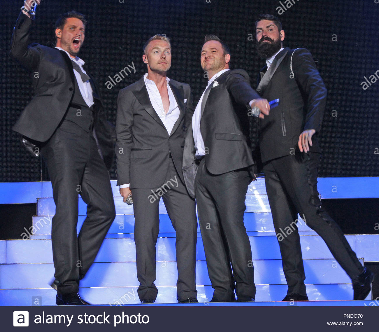 Boyzone perform to a sold out crowd at Forest Live 2014, in Delamere Forest Park, Cheshire on Sunday 06  July  2014 Stock Photo