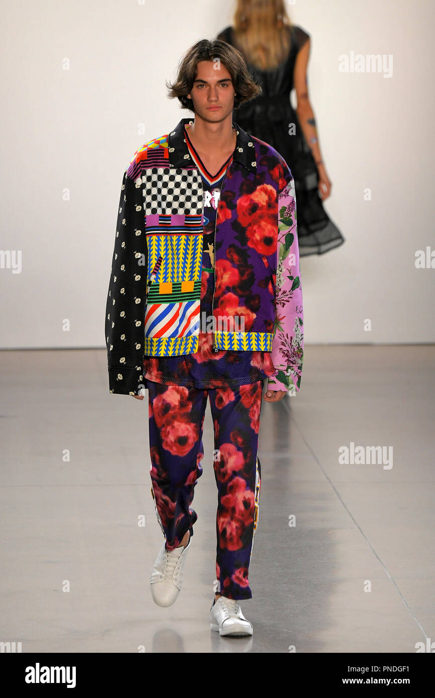 NEW YORK, NY - SEPTEMBER 10: A model walks the runway for Libertine during New York Fashion Week: The Shows at Gallery II at Spring Studios on Septemb - Stock Image
