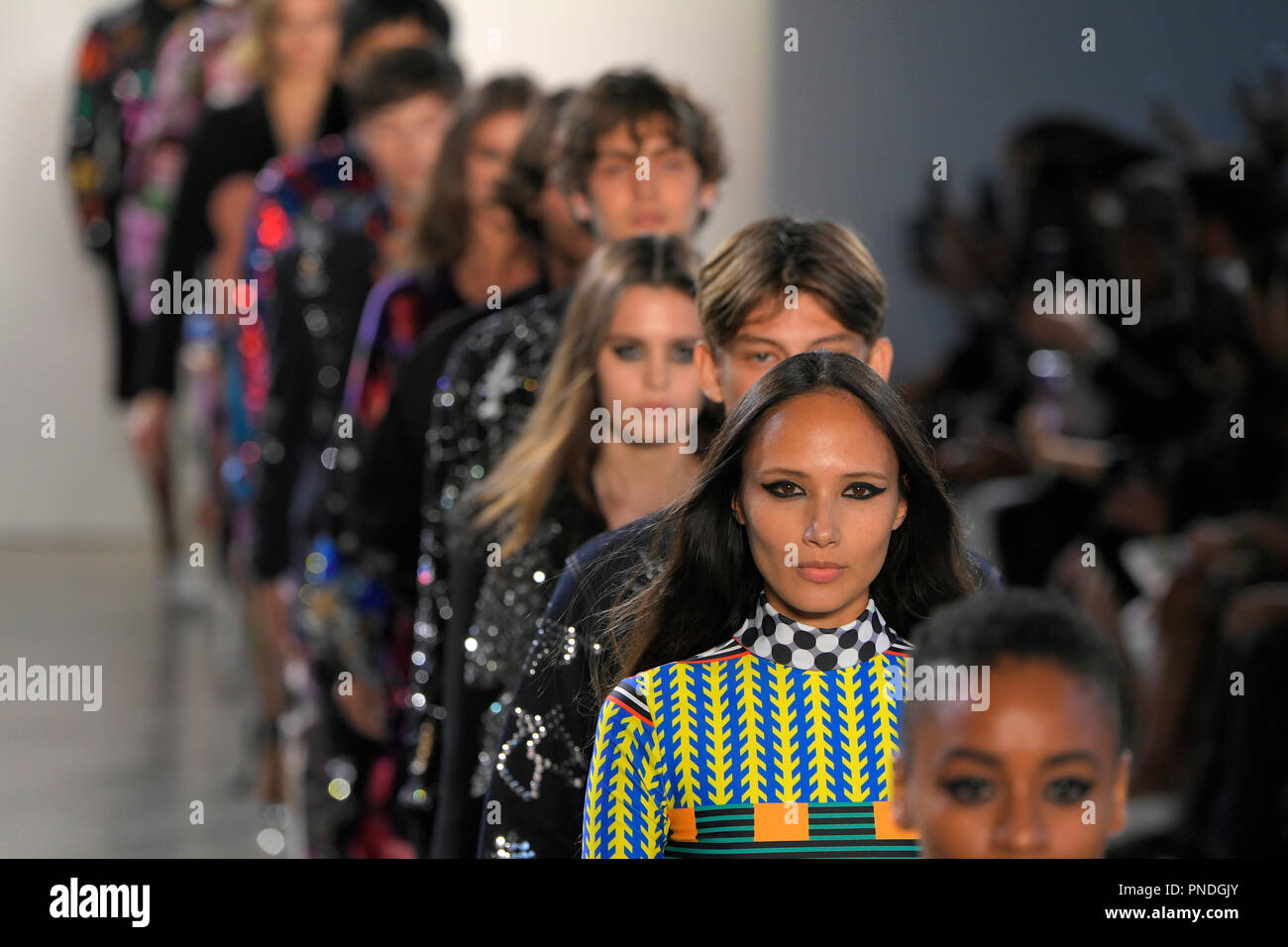 NEW YORK, NY - SEPTEMBER 10: Models walk the runway for Libertine during New York Fashion Week: The Shows at Gallery II at Spring Studios on September - Stock Image