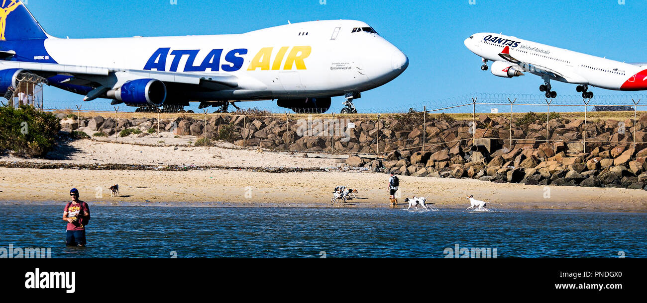 Sydney, New South Wales, Australia - November 6. 2013: Atlas Airline Boeing 747 Commercial passenger jet aircraft taxing on runway at Sydney. - Stock Image