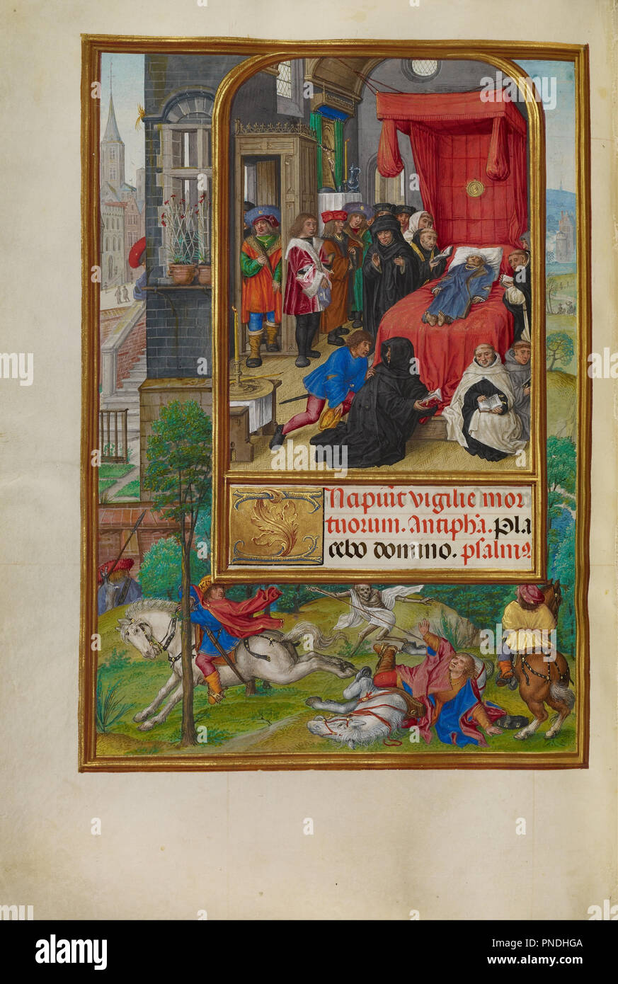 Deathbed Scene. Date/Period: Ca. 1510 - 1520. Folio. Tempera colors, gold, and ink on parchment. Height: 232 mm (9.13 in); Width: 167 mm (6.57 in). Author: Master of James IV of Scotland. - Stock Image