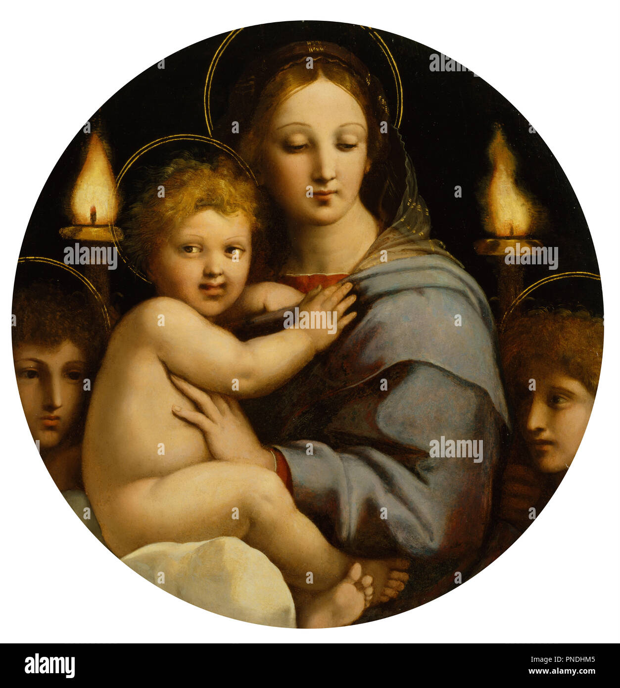 Madonna of the Candelabra. Date/Period: Ca. 1513 (Renaissance). Oil paintings; panel paintings; tondi. Oil on panel oil on panel. Height: 65.70 mm (2.58 in); Width: 64 mm (2.51 in). Author: RAPHAEL. Stock Photo