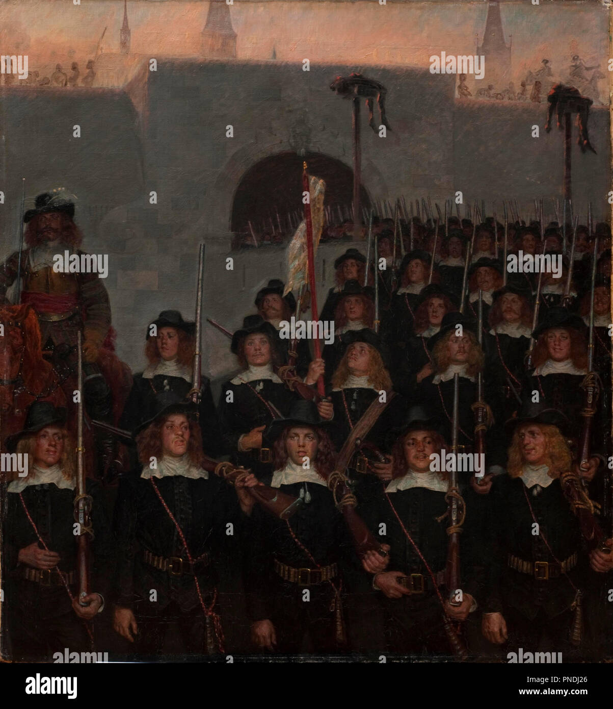 Students leave to defend Copenhagen in 1658. Date/Period: 1888. Painting. Canvas and oil. Width: 103 cm. Height: 110 cm. Author: KRISTIAN ZAHRTMANN. Stock Photo