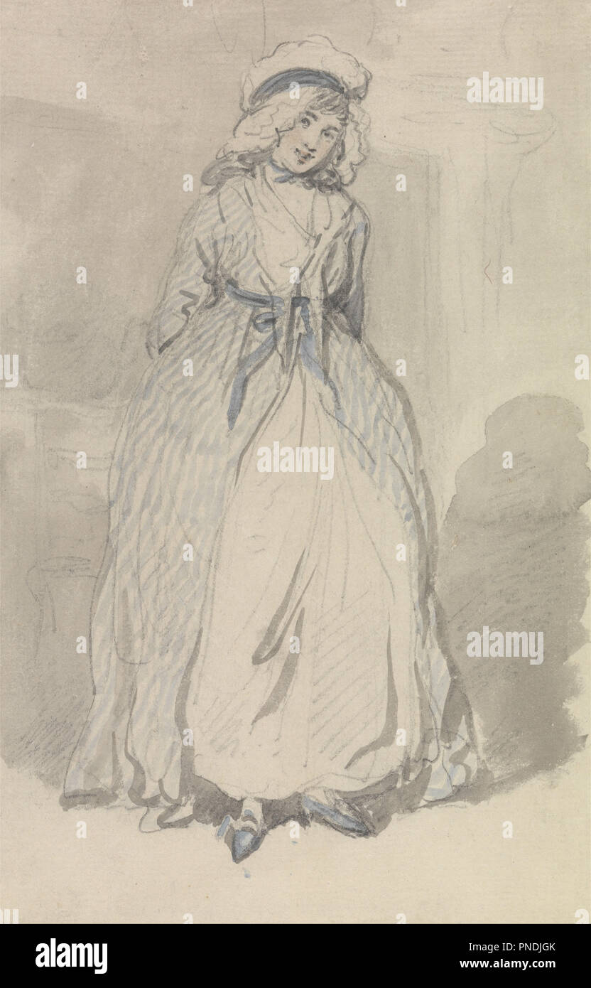 bed2ecca6 A Young Woman in a Blue Striped Dress. Drawing. Watercolor over ...