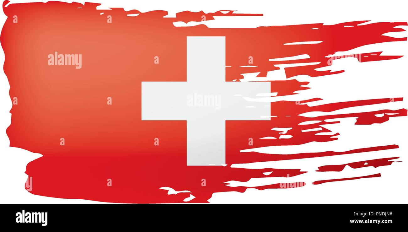 Switzerland flag, vector illustration on a white background. - Stock Vector