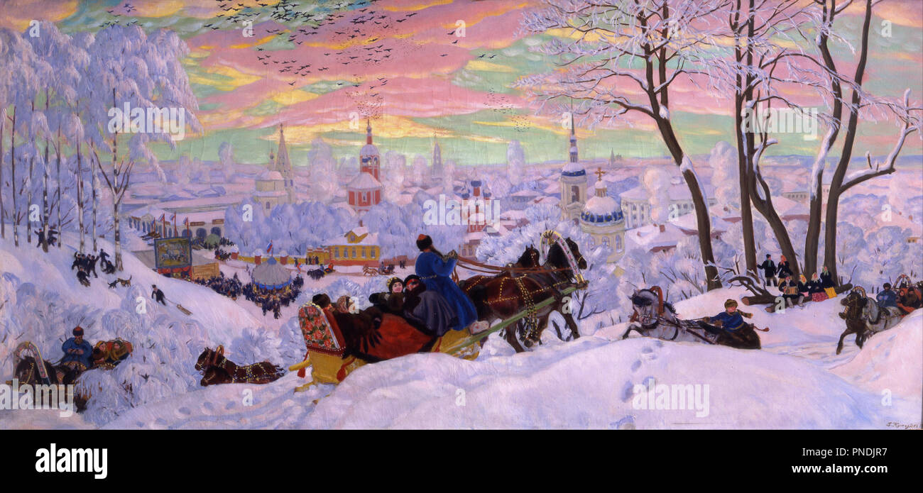 Shrovetide. Date/Period: 1916. Painting. Oil on canvas Oil on canvas. Height: 890 mm (35.03 in); Width: 1,905 mm (75 in). Author: Boris Kustodiev. Kustodiev, Boris Mihajlovic. Kustodiev, Boris Michaylovich. Stock Photo
