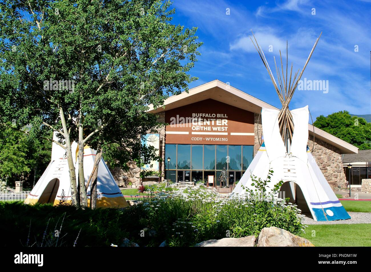 Entrance to the Buffalo Bill Center of the West Museum in Cody Wyoming USA. Step into an plains Indian home and look around - Stock Image
