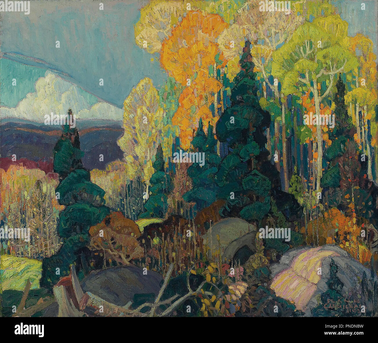 Autumn Hillside. Date/Period: 1920. Painting. Oil on canvas. Width: 91.4 cm. Height: 76 cm (overall). Author: FRANKLIN CARMICHAEL. Stock Photo