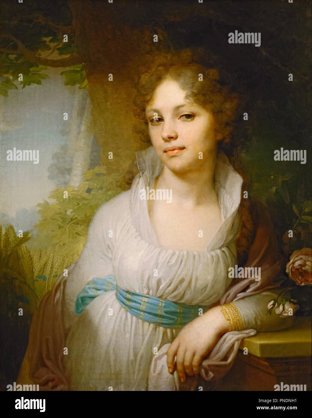Portrait of M.I.Lopukhina. Date/Period: 1797. Painting. Oil on canvas. Height: 72 cm (28.3 in); Width: 53.5 cm (21 in). Author: Vladimir Borovikovsky. Borovikovsky, Vladimir Lukich. - Stock Image