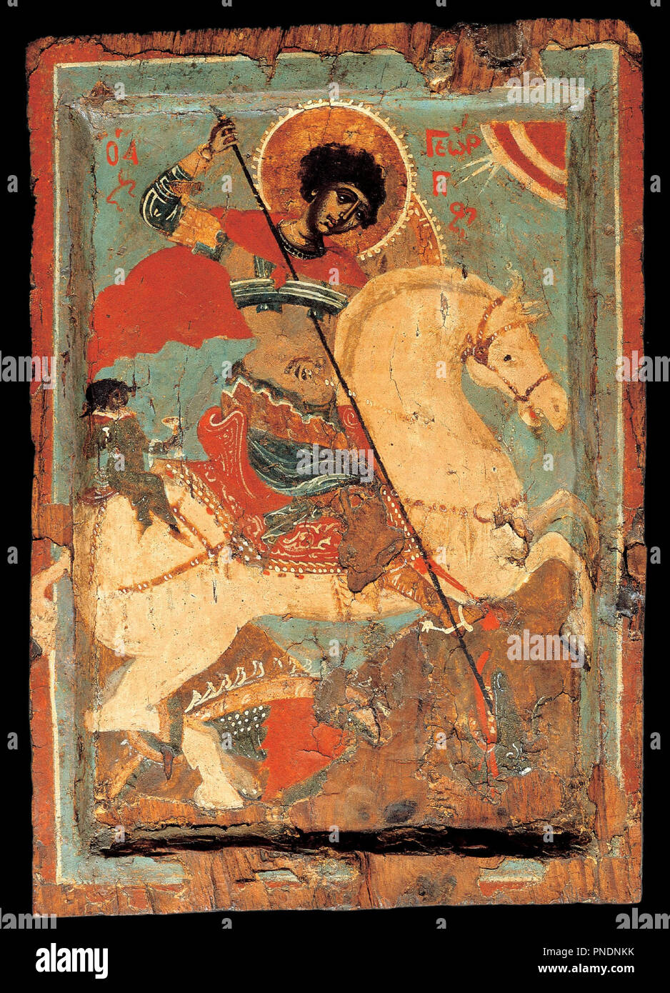 St George the dragon-slayer on horseback. Date/Period: 1550 - 1599. Icon. Height: 192 mm (7.55 in); Width: 203 mm (7.99 in). Author: Macedonian workshop. Stock Photo