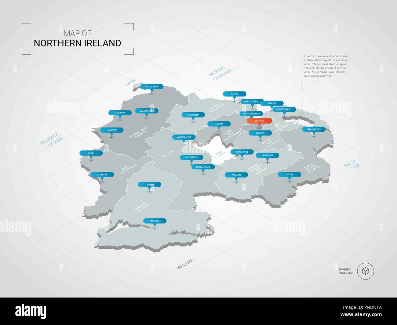 Ireland Map With Cities.Isometric 3d Northern Ireland Map Stylized Vector Map Illustration