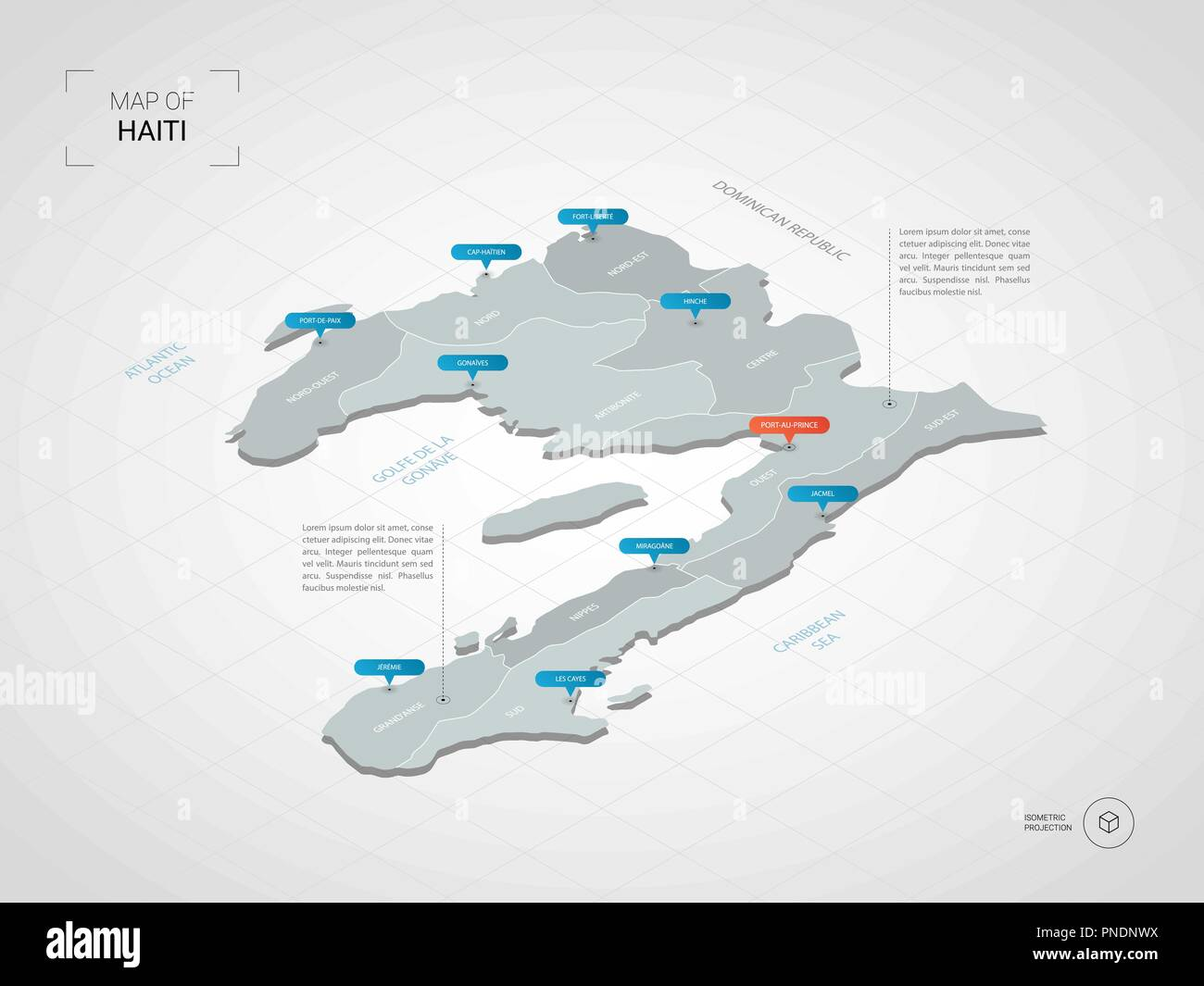 Isometric 3D Haiti map. Stylized vector map illustration with cities ...